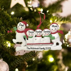Personalized Snowmen Sled Family Christmas Ornament
