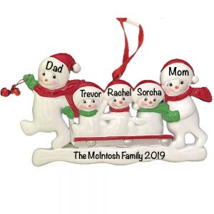 Snowmen Sled Family of 5 Personalized Christmas Ornament