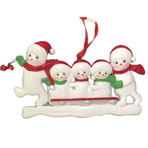 Snowmen Sled Family of 5 Personalized Christmas Ornament - Blank