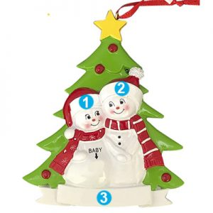 Expecting Snow Couple Personalized Christmas Ornament - Numbered