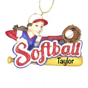 Softball Girl Raw Personalized Christmas Ornament