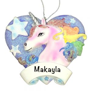 Unicorn Blue Heart Personalized Christmas Ornament