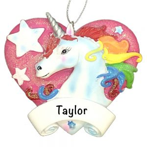 Unicorn Pink Heart Personalized Christmas Ornament