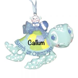 Baby Boy_s 1st Christmas Sea Turtle Blue Personalized Christmas Ornament
