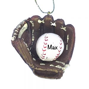 Baseball Glove Ball Personalized Christmas Ornament