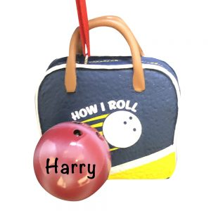 Bowling Ball and Bag Personalized Christmas Ornament