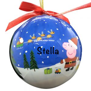 Peppa Pig Blue Ball Personalized Christmas Ornament