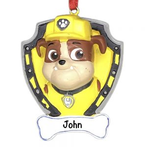 Paw Patrol Rubble Personalized Christmas Ornament
