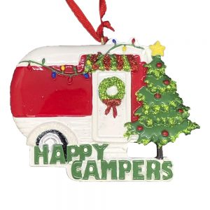 Happy Campers Camping Personalized Christmas Ornament Blank