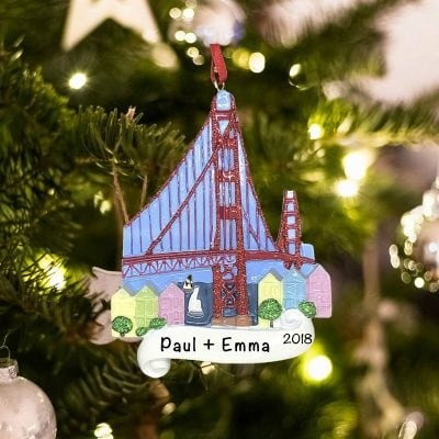 Personalized San Francisco Golden Gate Bridge Christmas Ornament
