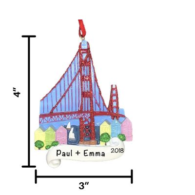 San Francisco Golden Gate Bridge Personalized Christmas Ornament