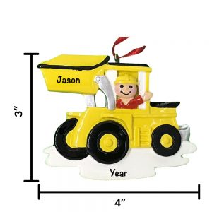 Digger Truck Personalized Christmas Ornament