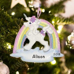 Personalized Unicorn Rainbow Christmas Ornament