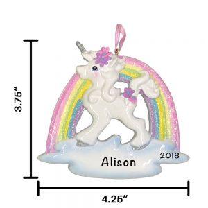 Unicorn Rainbow Personalized Christmas Ornament