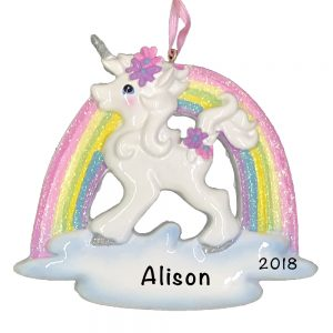 Unicorn Rainbow Personalized Christmas Ornament