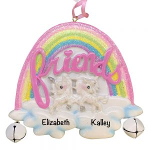 Unicorn Friends Personalized Christmas Ornament