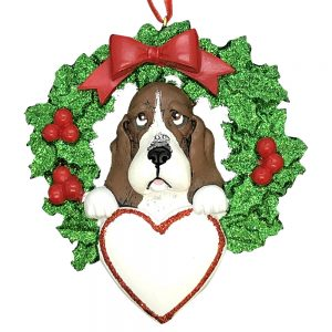 Basset Hound Dog Personalized Christmas Ornament Blank