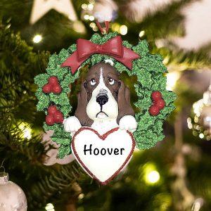 Personalized Basset Hound Dog Christmas Ornament