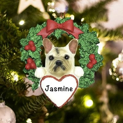 Personalized French Bulldog with Wreath Christmas Ornament