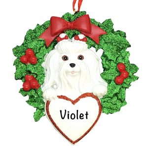 Maltese Dog Personalized Christmas Ornament