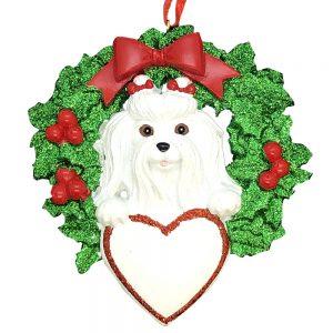 Maltese Dog Personalized Christmas Ornament Blank