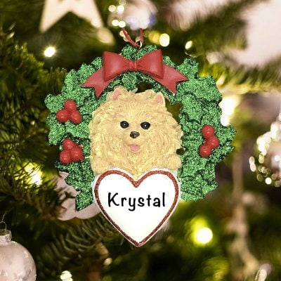 Personalized Pomeranian with Wreath Christmas Ornament