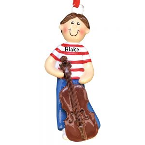Cello Boy Personalized Christmas Ornament