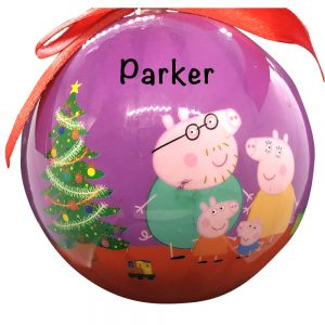 Peppa Pig Pink Ball Personalized Christmas Ornament