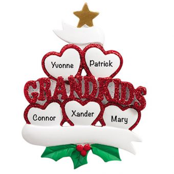 Grandkids Family of 5 Personalized Christmas Ornament