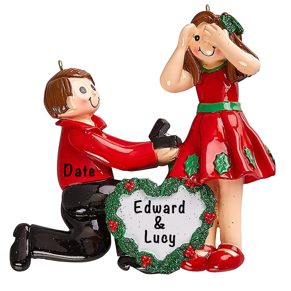 Proposing Couple Engagement Ring Personalized Ornament
