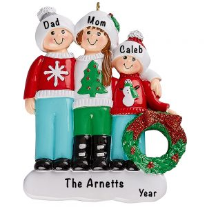Ugly Sweater Family of 3 Personalized Ornament