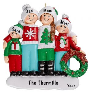 Ugly Sweater Family of 4 Personalized Ornament