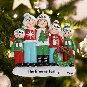 Personalized Ugly Sweater Family of 5 Christmas Ornament