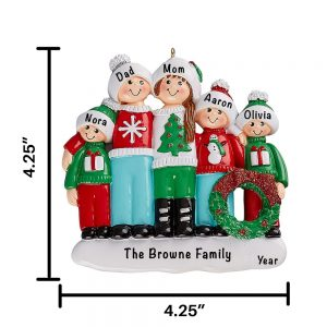Ugly Sweater Family of 5 Personalized Christmas Ornament