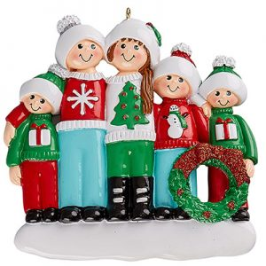 Ugly Sweater Family of 5 Personalized Ornament Blank
