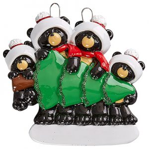 Black Bear Christmas Tree Family of 4 Personalized Ornament Blank