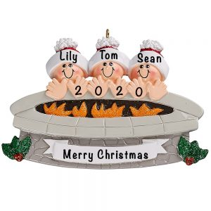 Fire Pit Family of 3 Personalized Ornament