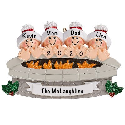 Fire Pit Family of 4 Personalized Ornament