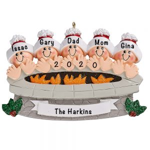 Fire Pit Family of 5 Personalized Ornament