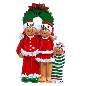 Christmas Eve Ethnic Family of 3 Personalized Ornament