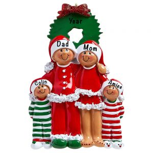 Christmas Eve Ethnic Family of 4 Personalized Ornament