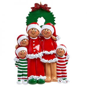 Christmas Eve Ethnic Family of 5 Personalized Ornament Blank