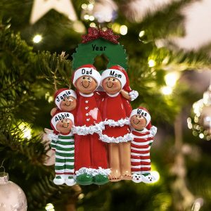 Personalized Christmas Eve Ethnic Family of 5 Christmas Ornament
