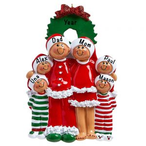 Christmas Eve Ethnic Family of 6 Personalized Ornament