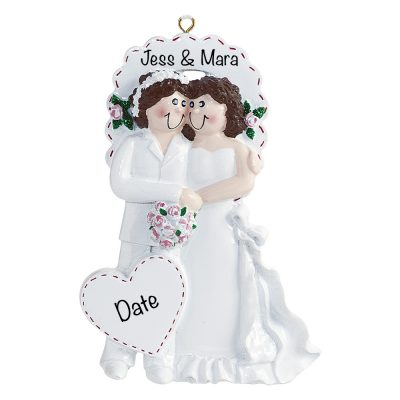 Lesbian Gay Couple Wedding Personalized Ornament