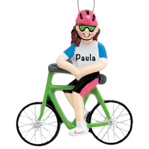 Cycling Girl Personalized Ornament
