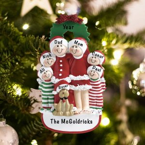 Personalized Christmas Family of 6 Christmas Ornament