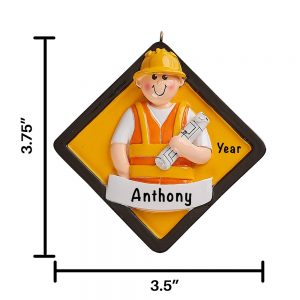 Construction Worker Personalized Christmas Ornament