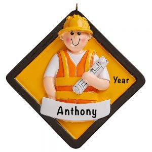 Construction Worker Personalized Ornament