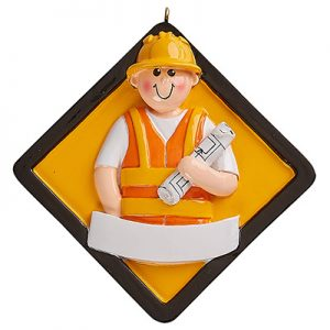 Construction Worker Personalized Ornament Blank